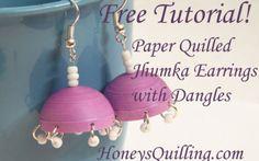 Comment fabriquer du papier Quilled Boucles Jhumka avec Dangles - tutoriel gratuit