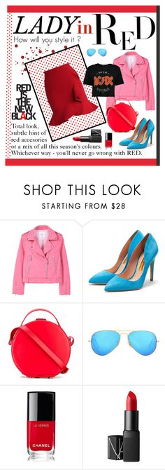 """""""something RED"""" by the-amj ❤ liked on Polyvore featuring MANGO, Rupert Sanderson, Nico Giani, Ray-Ban, Chanel, NARS Cosmetics and Boohoo"""