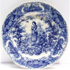 Joan of Arc Blue China Dinner Plate Antique French Toile Floral Border