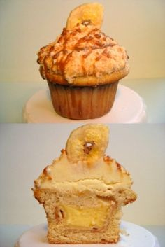 Banana pudding pie in a vanilla cupcake