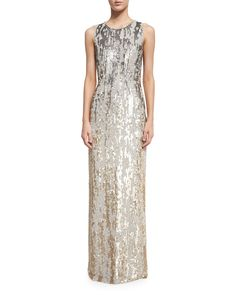 Sleeveless Sequined Burnout Gown, Dawn Gold, Women's, Size: 12 - Jenny Packham