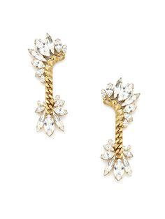 Gold & Clear Crystal Curvy Mohawk Drop Earrings by Elizabeth Cole