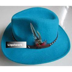 Aqua Blue Wool Western Cowboy Cowgirl Fashion Dress Fedora Hats SKU-159033