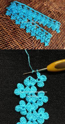 Col Crochet, Crochet Pattern Free, Slip Stitch Crochet, Crochet Edging Patterns, Crochet Cord, Crochet Lace Edging, Crochet Borders, Tunisian Crochet, Crochet Geek
