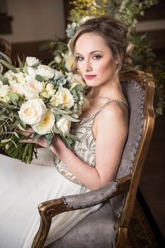 Lovely vintage armchair Planning, Design, Paperie, Ribbon: Apparel: for HMUA: Cake: Catering: Video: Florals: Lighting: Linens: Arch Words: Rentals & Decor: Venue: Photography: Model: Lincoln Avenue, Vintage Armchair, Rental Decorating, Black Tie, Linens, Catering, Woodland, Florals, Arch