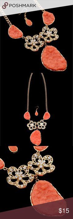 "Orange druzy statement necklace Orange druzy necklace/statement necklace/flower necklace                                                               Chic Gold Tone Orange Stones With Flowers Necklace Set  Approx. 21"" L Jewelry Necklaces"