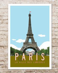 Vintage Paris Travel Poster with Eiffel Tower illustration by Transit Design.