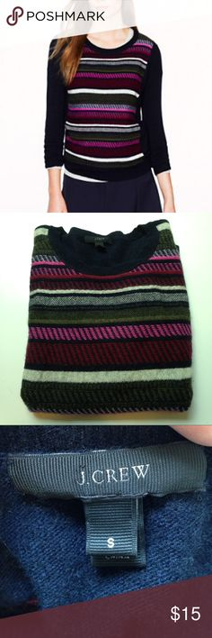 J.Crew textured stripe sweater, size S Size S, navy with pink, maroon and olive stripes. Soft & cozy, good used condition. J. Crew Sweaters Crew & Scoop Necks