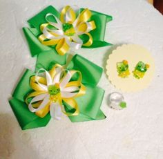 New Handmade Grosgrain Ribbon Hair Bows Earrings Ring  Set Clips Girl Green