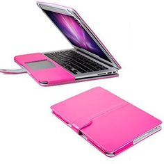 13 MacBook Air Sleeve, GMYLE(R) Folio Case Cover for MacBook Air 13 inch - Hot Pink PU Leather Premium Quality with Microfiber Clip on Sleeve Filp Case Cover$16.98