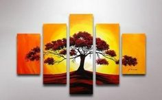 5 Pics Big Tree Sunrise Abstract Modern Art 100% Hand Painted Oil Painting on Canvas Wall Art Deco Home Decoration (Unstretch No Frame) Gp01 by galleryworldwide, http://www.amazon.com/dp/B0094U5KES/ref=cm_sw_r_pi_dp_YGbUrb0149SHR