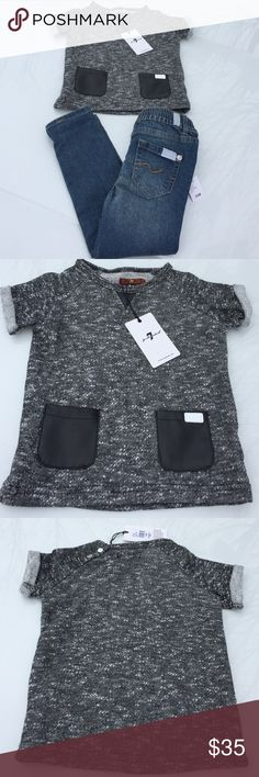 (New) 7 For All Mankind Girls Set (New). Tags attached. Sold as a set only. Size: 24mo. Sweater: 1/2 sleeve, 60% cotton/40% polyester, color: black/white speckled, features faux black leather accents, 7 label is displayed on front left pocket, 2 silver toned snap buttons on left shoulder. Jeans: light-slight medium wash, skinny jean, 2 silver toned snap front closure, 70% cotton/28% polyester/2% spandex. Retails for $59+tax. 🚫 no lowball offers, 🚫 I don't trade. 7 For All Mankind Matching…