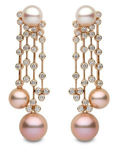 Yoko London pearl and diamond chandelier earrings
