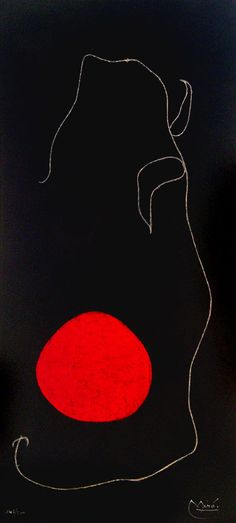 Miro Lithograph Signed, Oiseau devant le soleil (Bird In Front of the Sun), 1961