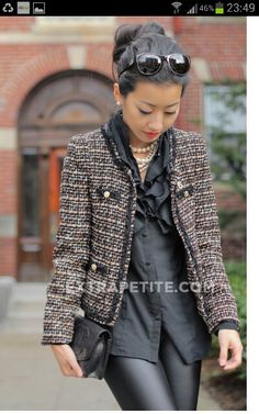 tweed and leather from Extra Petite Chanel Outfit, Chanel Fashion, Boucle Jacket, Tweed Jacket, Tweed Blazer, Mode Outfits, Fashion Outfits, Womens Fashion, Chanel Style Jacket