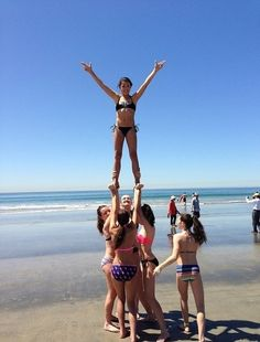 ...you do/did stunts anywhere you could, like the beach. | 35 Things Every Cheerleader Will Understand  #cheer #cheerleader #cheerleading