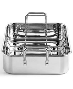 "Martha Stewart Collection Stainless Steel 15"" Roaster with Roasting Rack - Cookware - Kitchen - Macy's"