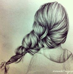 Pencil drawing of hair