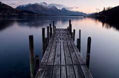 Jetty on Lake Wakatipu looking towards Walter and Cecil Peaks, Queenstown, New Zealand