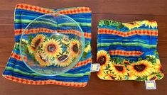 Sunflowers Microwave bowl cozies SET OF TWO / sizes and prices vary