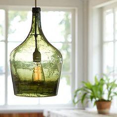 Vintage Green Bottle Pendant Light I just have to find the bottle! Glass Jug, Glass Bottles, Wine Bottles, Cut Glass, Bottle Art, Bottle Crafts, Big Bottle, Pendant Lamp, Pendant Lighting