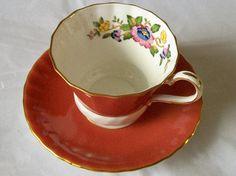 Vintage Aynsley teacup   burnt orange teacup  by NewtoUVintage