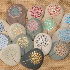 Painted Stone Dandelion Pebbles with Nature Designs floral   Etsy Pebble Painting, Hand Painting Art, Pebble Art, Stone Painting, Hand Painted Rocks, Painted Stones, Nature Design, Ladybug Rocks, Art Rupestre