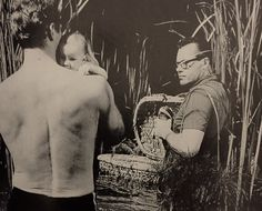 Heston prepares his son Fraser for his only on screen role as the infant Moses. He stayed calm, even when the basket began to sink.
