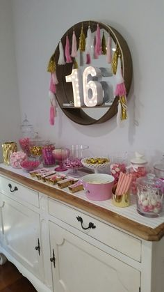 16 Birthday Party Candy Bar Pink and Gold
