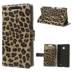 Phone Case for Nokia Lumia 635 630 Leopard Glossy PU Leather Wallet Cover w/ Stand for Nokia Lumia 635 630 Dual SIM RM-978