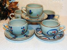 Eclectic Tea Set 5 Cups and Saucers Beautiful Hand Painted