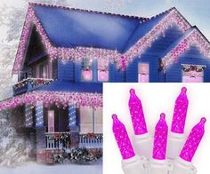 $18.99-$22.99 Set of 70 LED M5 Icicle Christmas Lights  Item #274A4611 Features:  Color: hot pink bulbs / white wire Number of bulbs on string: 70 Bulb size: M5 (mini)  Approximate drop lengths alternate between: 9 inches, 12 inches, 5 inches and 16 inches long   Spacing between each bulb: 4 inches Spacing between each drop: 7 inches Approximate lighted length: 9.5 feet long Approximate total le ...