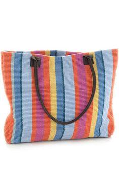 #DashAndAlbert Tigerlily Stripe Woven Cotton Tote Bag: $65