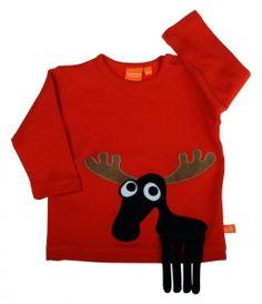 Lipfish Rot T-Shirt Elch langarm