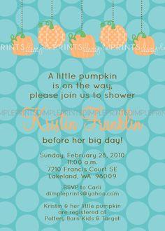 pumpkin baby shower   Pumpkin Baby Shower Printable Invite - Dimple Prints Shop