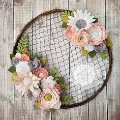 Youll fall in love with this rustic chicken wire wreath that beautifully combines farmhouse chic chicken wire with romantic pink, blush, white, and gray felt flowers. The thin grapevine and wire wreath is a perfect pairing with the delicate flowers, leaves, and fronds. You'll find