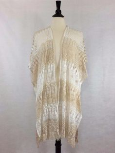 CHICO'S NEW Lisa Lace Ruana Wrap One Size Neutral Lace Women's Top Poncho NWT #Chicos #Wrap #Casual
