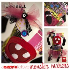 This monster is made by our friend Terri. She includes some custom printed fabric, a nice little tutu and some sparkly, shiny bits! Make sure to head over to tbellphotographic.com and learn more about the other work that Terri does when she is not busy making monsters!