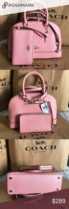 🍀Coach Set🍀 100% Authentic Coach Purse Crossbody and Wallet, both brand new!.😍😍😍Color Blush. Coach Bags Crossbody Bags