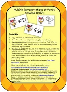 Bee-themed cards show money amounts represented three ways: cent symbol, coins, dollar sign and decimal point.  Use the cards for two different act...