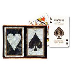 Congress Black Marble Bridge Playing Cards - 2 Decks