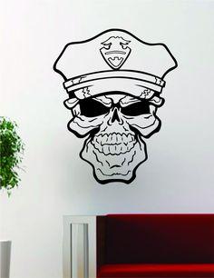 Police Skull Design Decal Sticker Wall Vinyl Decor Art