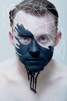 © May Xiong - Conceptual Male Makeup, Makeup Art, Portrait Inspiration, Makeup Inspiration, A Level Art, Foto Art, Creative Makeup, Geometric Shapes, Light In The Dark