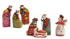 "Folk Art Nativity - from Fiddlesticks;  set of 7;  tallest is 5.5"""