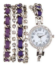 Look at this #zulilyfind! Purple & Silver Cord-Threaded Wrap Watch #zulilyfinds