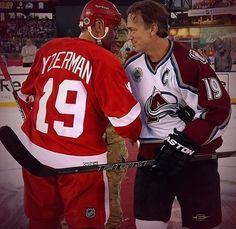 My hockey heaven: Steve Yzerman and Joe Sakic, 2016 Coors Light NHL Stadium Series Alumni Game - Respect Hockey Rules, Hockey Teams, Ice Hockey, Steve Yzerman, Red Wings Hockey, Stadium Series, Detroit Sports, Nhl News, Colorado Avalanche