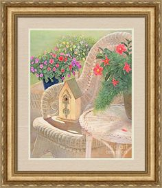 """Come sit in a peaceful garden, with a print © Nancy Lee Moran on Fine Art America. Click the image of """"Summer Joy"""" to see it, then choose your own mat, frame, and print size. This frame is VN7 (in the """"Gold"""" drop-down menu). Top mat is Sandstone, 2.5 inches wide. Bottom mat is Soft Green, with a quarter-inch showing. Print size as shown is 24 x 19 inches. #birdhouse #wicker #impatiens #violas #mandevilla #flowers #naturelovers #floralart #Americana #countrylife #print #frame #FineArtAmerica"""