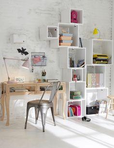 Higgledy piggledy box shelves in a clean white space, filled with colourful accessories. Cheerfully clutterless space-saving ideas from @Lisa Phillips-Barton Hornsey, our Dream Room winner.