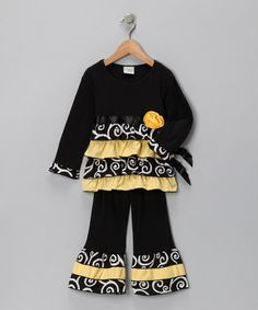 Loving this Black Swirl Bee Tunic & Ruffle Pants - Toddler & Girls on #zulily! #zulilyfinds