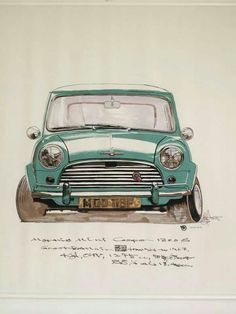 Mini Cooper S Mk 1 Learn How I make great money sharing cool photos… Mini Cooper S, Mini Cooper Classic, Cooper Car, Classic Mini, Classic Cars, Fiat 600, Mini Clubman, Cabriolet, Car Illustration